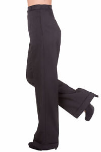 Black Wide Leg High Waist 1940's Style Vintage Retro Trousers By BANNED Apparel