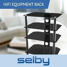 4 Shelf Rack Tempered Glass HIFI Equipment Stand 550mm Wide up to 20kg Black
