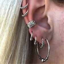 Ladies Women Punk Rock Gothic Boho Ethnic Fashion Silver Hoop Earrings Set UK