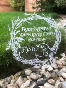 Personalised Robin Memorial Grave Marker Plaque Decoration - Remembrance