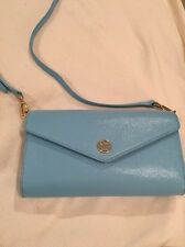 Tory Burch Crossbody Envelope clutch, pale blue handbag purse GHW