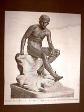 Nel Museo Nazionale di Napoli nel 1876 Mercurio Assiso Statua in bronzo Ercolano