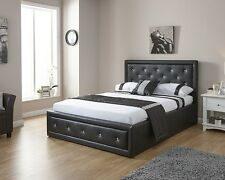 Double 4ft6 Faux Leather Ottoman Storage Bed Diamante Double Crystal Bed