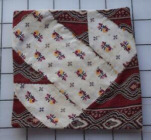 9329  1 antique 1860-70's T quilt block, madder stripe, floral