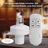 E27 220V Screw Wireless Remote Control Light Lamp Bulb Holder Cap Socket Switch