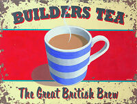 Builders Tea, Retro Vintage Metal Sign Wall Plaque Shabby Chic Cafe Kitchen