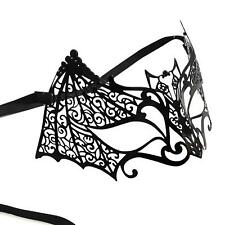 Womens Masquerade Black Bat Cat Halloween Face Eye Mask Metal Gothic Ball Lace