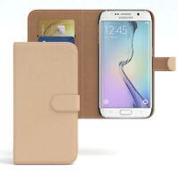 Tasche für Samsung Galaxy S6 Edge Case Wallet Schutz Hülle Cover Hellbraun
