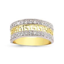 9CT GOLD LADIES CUBIC ZIRCONIA CZ BOMBAY ETERNITY GREEK KEY BAND WEDDING RING