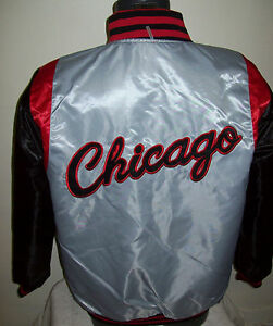 CHICAGO BULLS  REVERSIBLE NBA Satin Jacket L XL 2X RED & BLACK