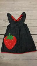 Gymboree 12-18 Month Girl Chambray Denim Strawberry Applique Sun Dress