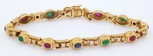 Heavy 18K gold colorful 2.76CTW VS/F diamond ruby emerald sapphire link bracelet