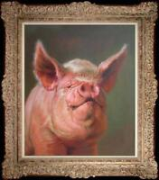 "Hand painted Original art Oil painting Animal Portrait pig on Canva 20""X24"""