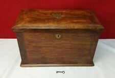 Antique 1800s Traveling Writing Wood Box Stationary Writing Desk Lock Key