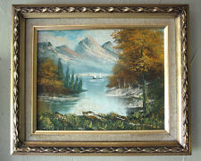 Empire Art Vintage Oil Painting Landscape, Sailboats, Signed