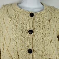 Vintage 70s Molly McGrath Hand Knit Off White Wool Fishermans Cardigan Sweater L