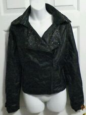 Cato Women's Jacket Coat size Small Black faux Leather zip up pewter studs