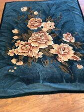 2 Ply Crafted Floral Thick Heavy Winter Soft Mink Fleece Queen Size Blanket Used