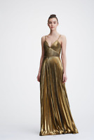 NWT Marchesa Notte Gold Sleeveless Pleated Lame Evening Gown
