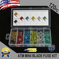 New 120pc MINI Blade Fuse Assortment Auto Car Motorcycle SUV FUSES Kit APM ATM