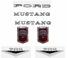 NEW! 1965-1966 Mustang GT Emblem Kit FORD Letters, 289 Emblems, MUSTANG Set