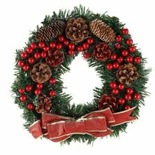 Ornament Christmas Wreath Artificial Pine Cones Berries Maple Leaves Decoration
