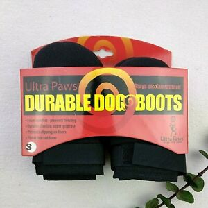 Ultra Paws Durable Dog Boots Size Small Comfort Super Grip Black Set of 4