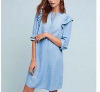 ANTHROPOLOGIE Cloth & Stone Chambray Ruffled Shirt Dress NwT M XL