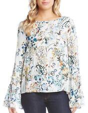 9dc29285f73d02 Karen Kane 4L69546 Ivory-Multi Floral Tie Sleeve Crepe Blouse, M - $128