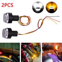 2PCS Motorcycle Turn Signal LED Light Indicator Handle Bar End Handlebar UK