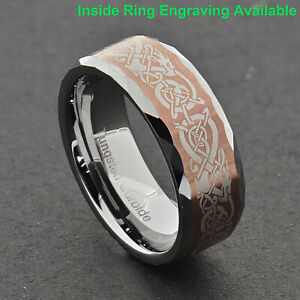 8mm Tungsten Brown Color Celtic Dragon Eternity Etch Facet Bevel Edge Men Ring
