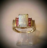 4Ct Emerald Cut Fire Opal Diamond & Pink Topaz Wedding Ring 14K Yellow Gold Over