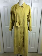 BURBERRY Sz 10 Dark Yellow Trench Rain Coat Blue Nova Check Lined Belt
