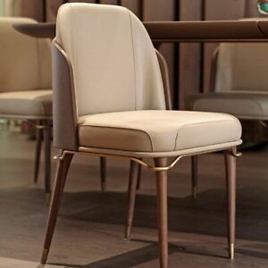 Dining Chair Home Restaurant Solid Wood Metal Soft Bag High Back Stool Furniture