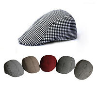 Men Boy grid Tweed Flat Herringbone Country Peak Hat Farmer Golf Retro Cap New