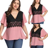 Plus Size Women's Crochet V Neck Short Sleeve Casual Summer T-Shirt Blouse Tops