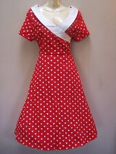 LINDY BOP SHORT SLEEVE  DRESS SAMPLE SIZE 8/10  RED WITH WHITE HEART PRINT
