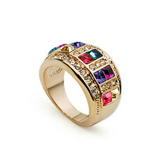 ITALINA 18K ROSE GOLD PLATED MULTI-COLOURED GENUINE CUBIC ZIRCONIA  RING
