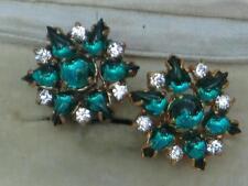 LOVELY Quality Vintage 50/60's versato Deep Green Glass & Diamante Orecchini Clip;