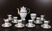 Antico servizio da caffè in porcellana dipinto a mano, Limoges Francia -18 pezzi