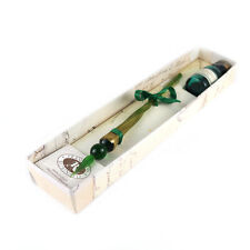 Francesco Rubinato Glass Dipping Pen Green & Gold w/ Ink Well