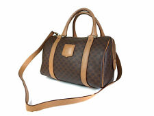 Authentic CELINE  MACADAM PVC Canvas Leather Browns Hand Bag, Shoulder Bag