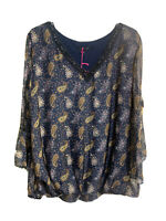 laganlook Paisley Print Top Silk blouse fit 12 14 16