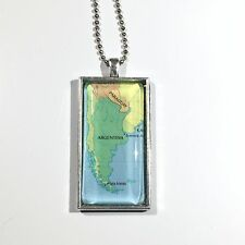 "PARAGUAY ARGENTINA SOUTH AMERICA Map Pendant Silver necklace ATLAS 2""x1""  f04"