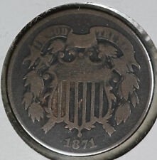 Better Date Very Good Condition 1871 Two Cent Piece!
