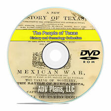 Texas TX, People Cities Family History and Genealogy 50 Rare Books DVD CD B17