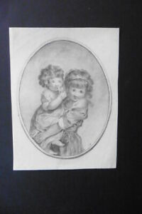 FRENCH SCHOOL CA. 1810 - PORTRAIT OF CHILDREN - PENCIL DRAWING