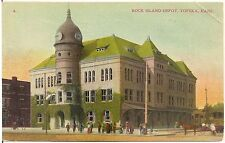Rock Island Depot in Topeka KS Postcard 1909