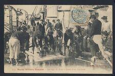 cpa Cachet VAR FRANCE MARINE MILITAIRE Navy LAVAGE de PONT à Bord d'un CUIRASSÉ