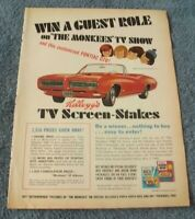 1968 Kellogs Cereal Vintage Monkees & GTO Convertible Vintage Contest Ad